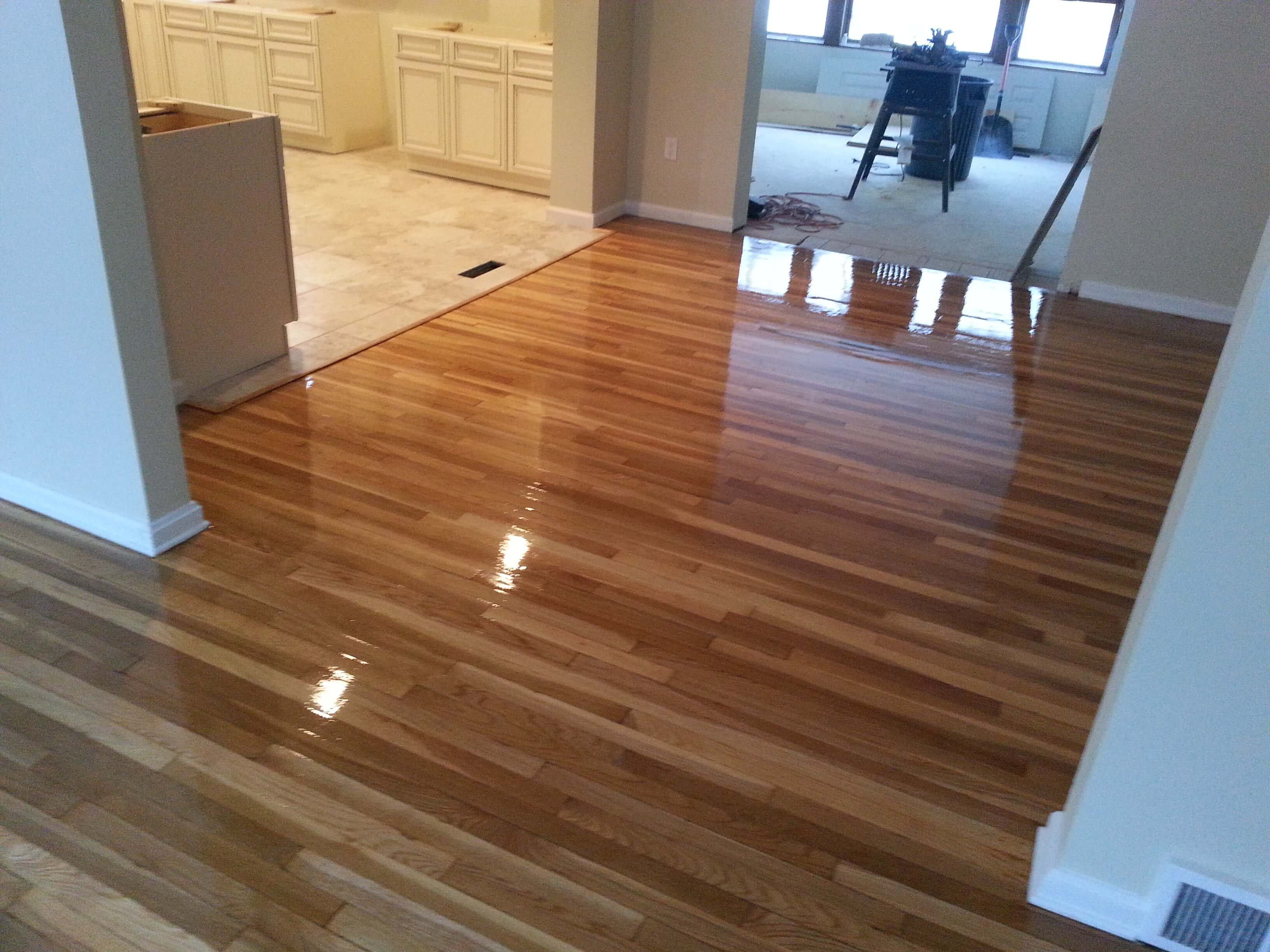 A resurfaced hardwood floor in the denver area