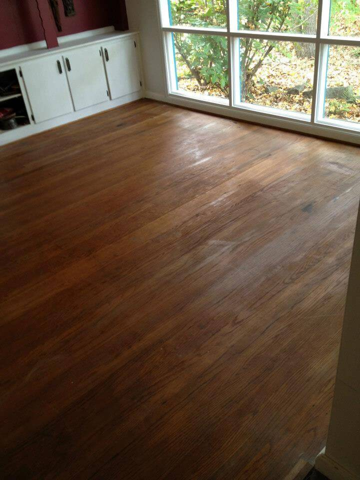 A damaged wood floor