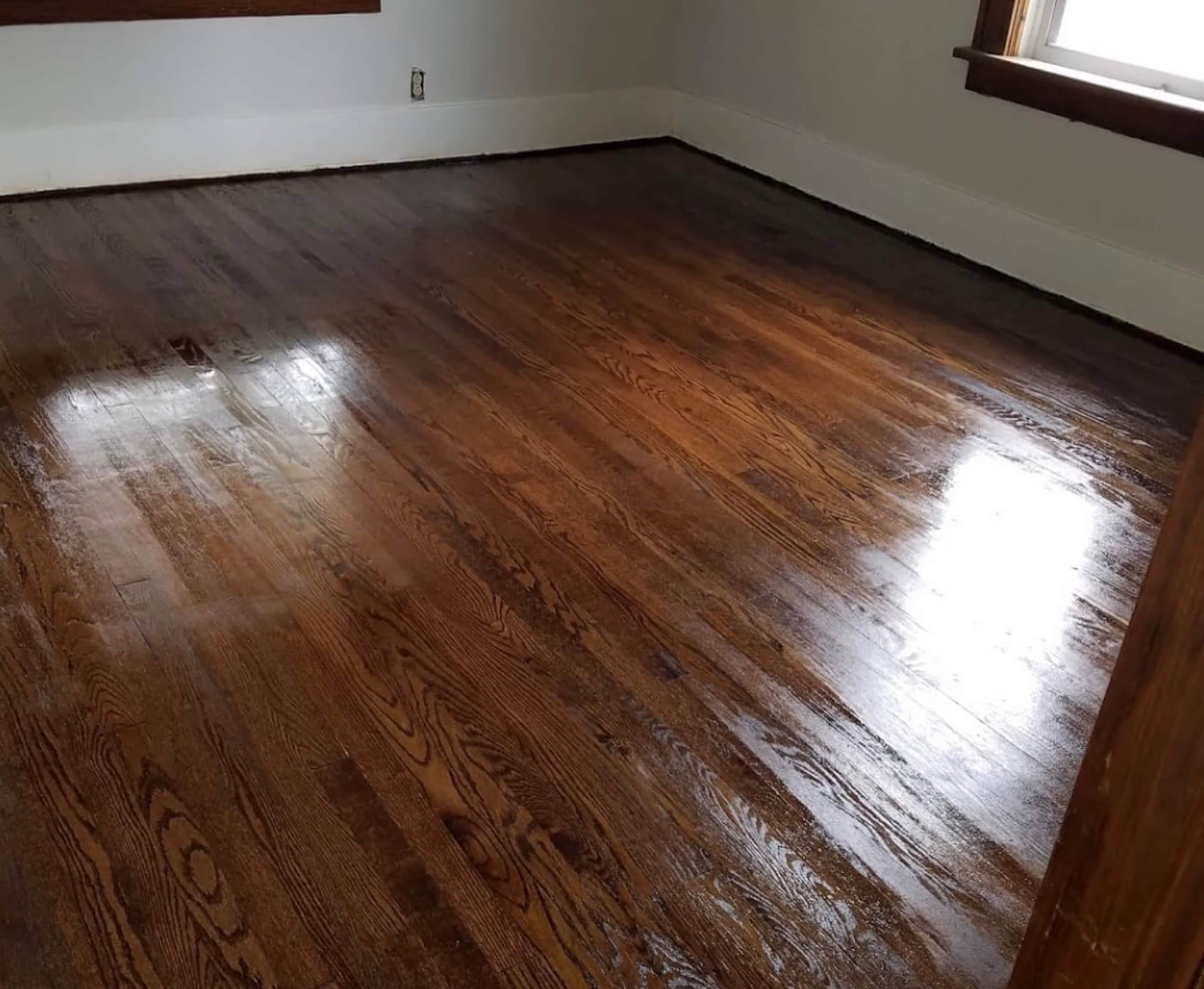 a stained and refinished hardwood floor in an arvada home