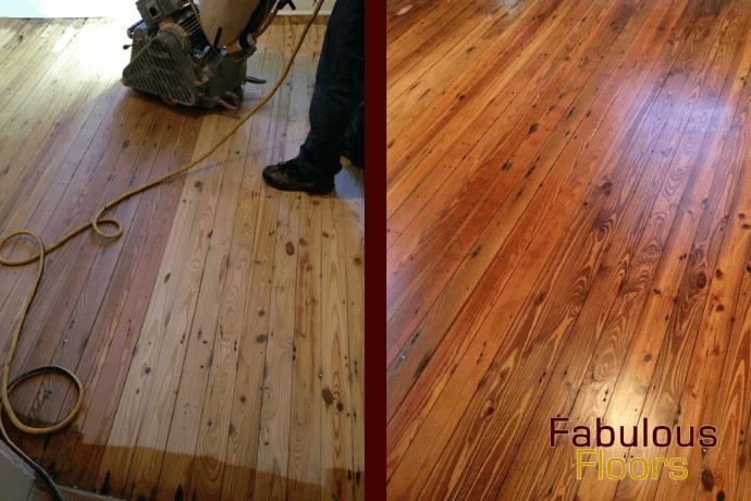 Before and after hardwood floor refinishing in Loveland, CO