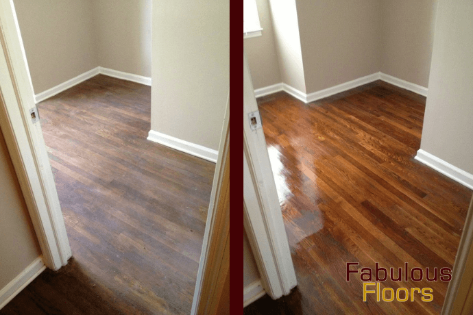Before and after hardwood floor refinishing in summit county, co